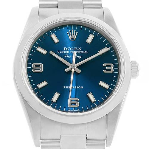 Photo of Rolex Air King Blue Dial Oyster Bracelet Steel Mens Watch 14000