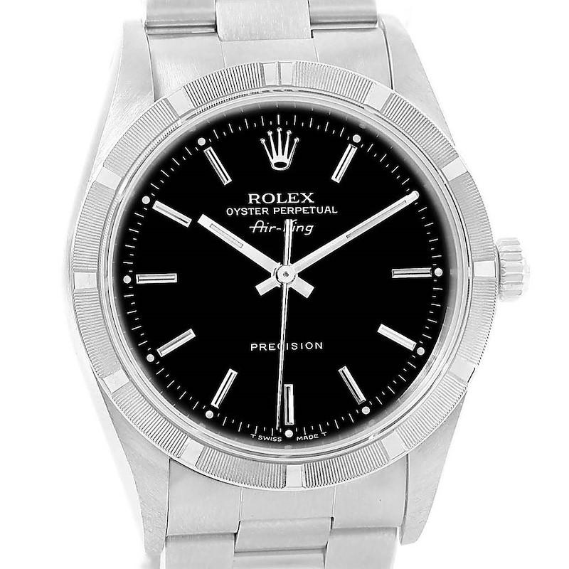 Rolex Air King Black Dial Engine Turned Bezel Steel Mens Watch 14010 SwissWatchExpo