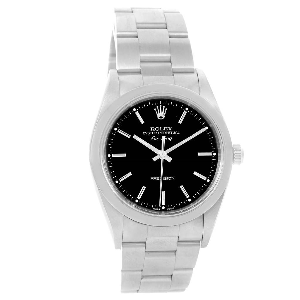 14572 Rolex Oyster Perpetual Air King Black Dial Steel Mens Watch 14000 SwissWatchExpo