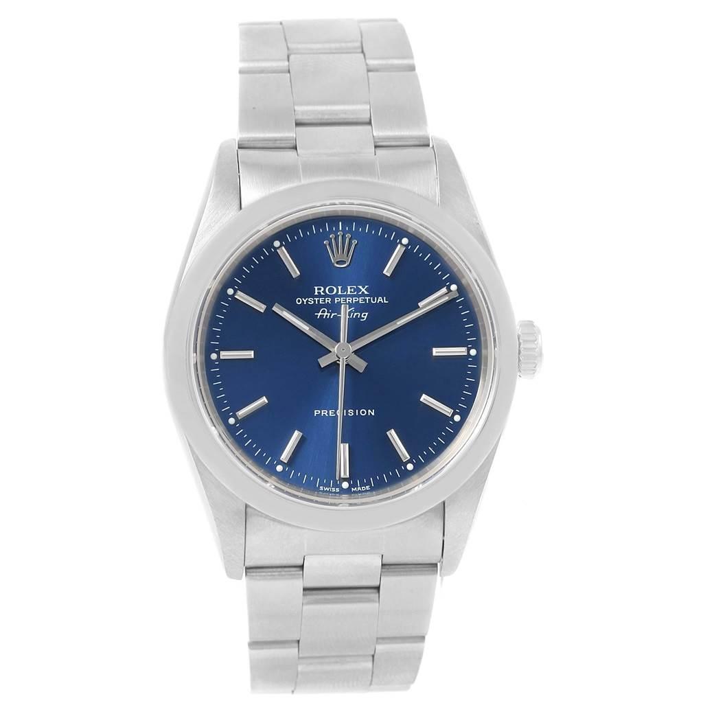 rolex air king 34 mm blue baton dial steel mens watch 14000