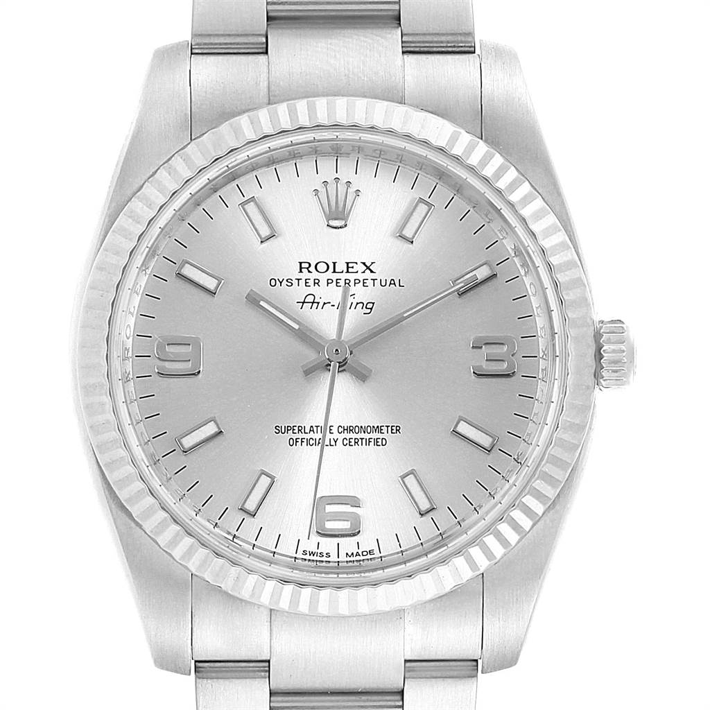 Rolex Air King Steel 18K White Gold Bezel Silver Dial Mens Watch 114234