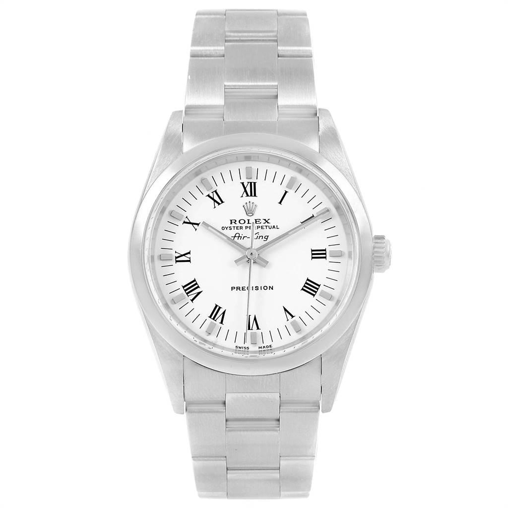 18291 Rolex Air King White Roman Dial Domed Bezel Mens Watch 14000 SwissWatchExpo