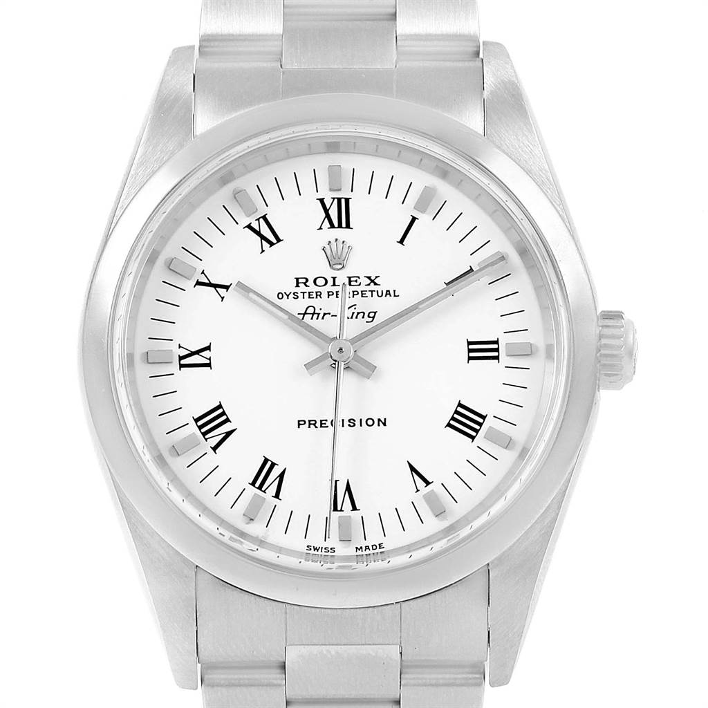18291 Rolex Air King White Roman Dial Domed Bezel Mens Watch 14000 SwissWatchExpo