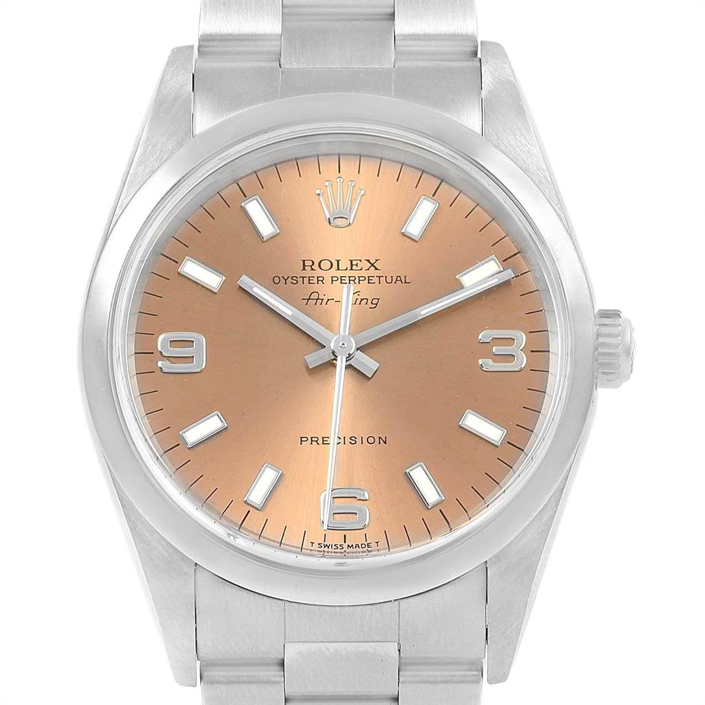 18542 Rolex Air King 34mm Salmon Dial Steel Unisex Watch 14000 SwissWatchExpo