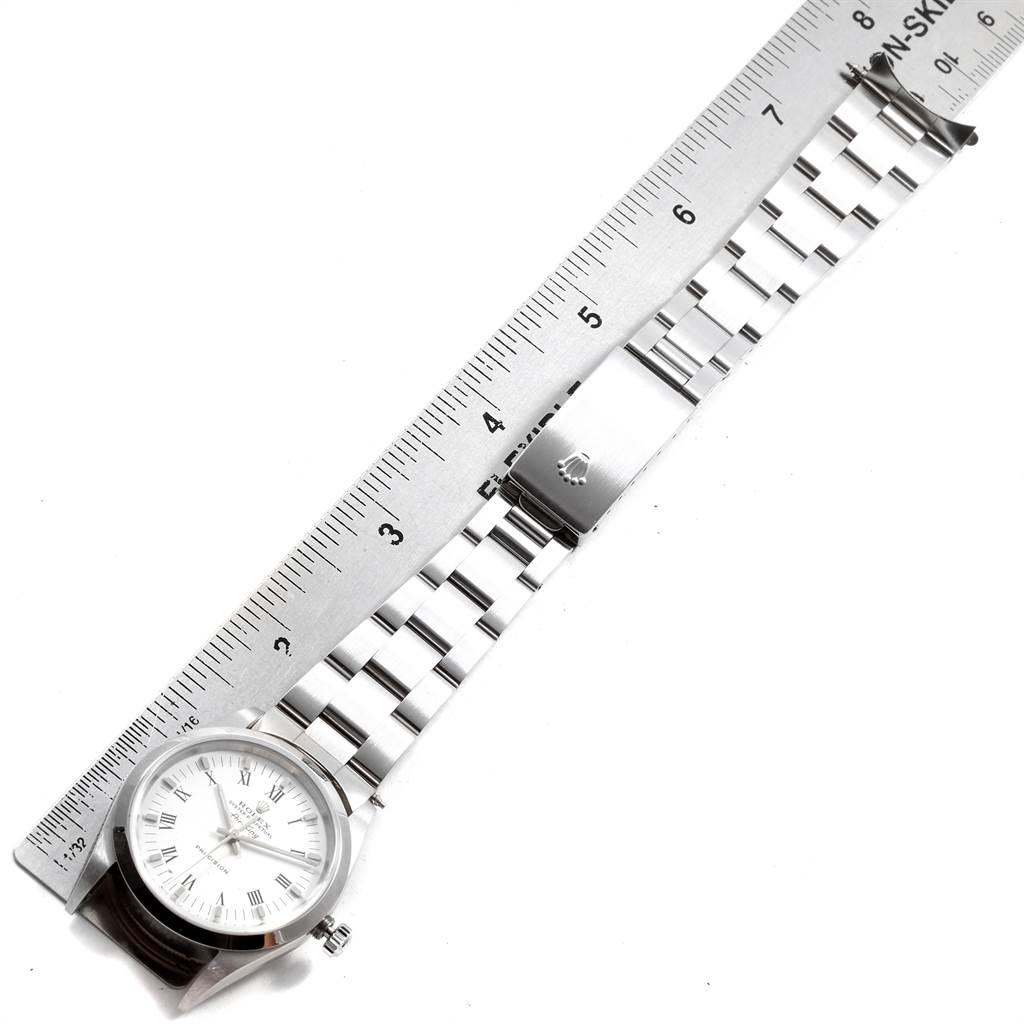 19840 Rolex Air King 34mm White Roman Dial Oyster Bracelet Mens Watch 14000 SwissWatchExpo