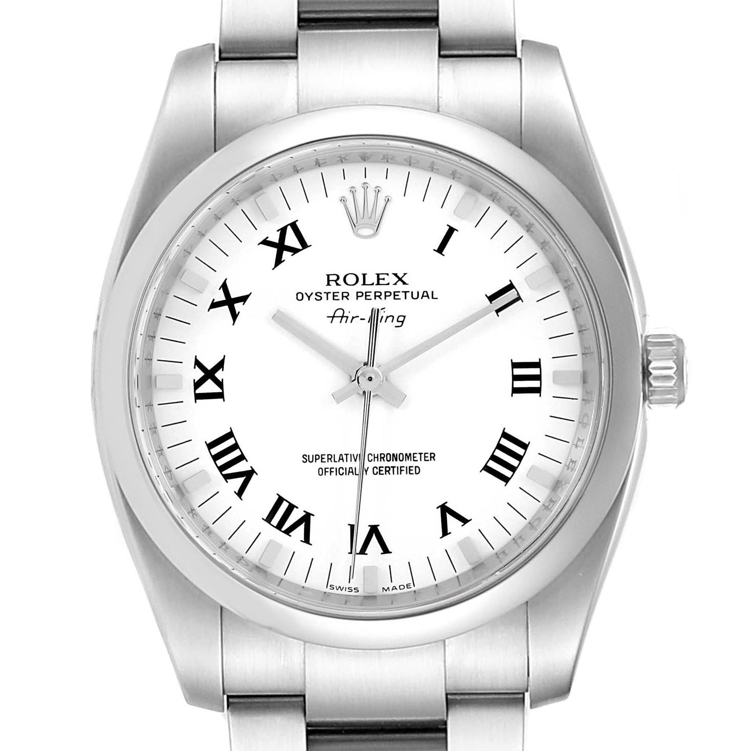 Rolex Air King White Roman Dial Steel Unisex Watch 114200 Box SwissWatchExpo