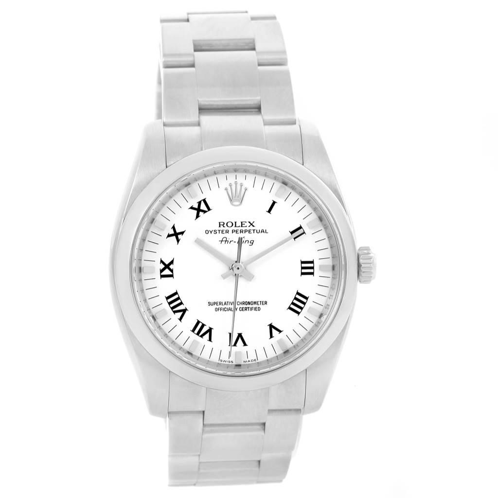 20886 Rolex Air King White Roman Dial Steel Unisex Watch 114200 Box SwissWatchExpo