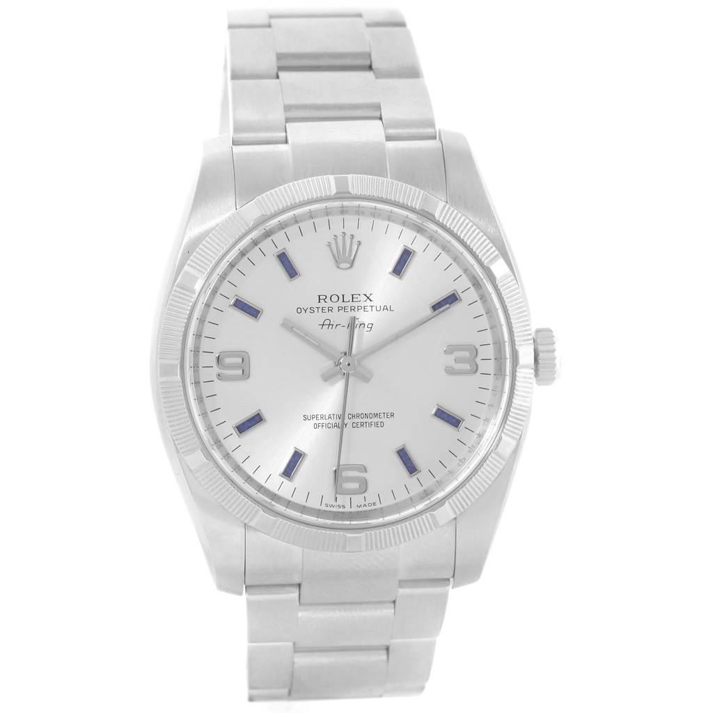 20911 Rolex Air King Silver Dial Blue Markers Steel Mens Watch 114210 SwissWatchExpo