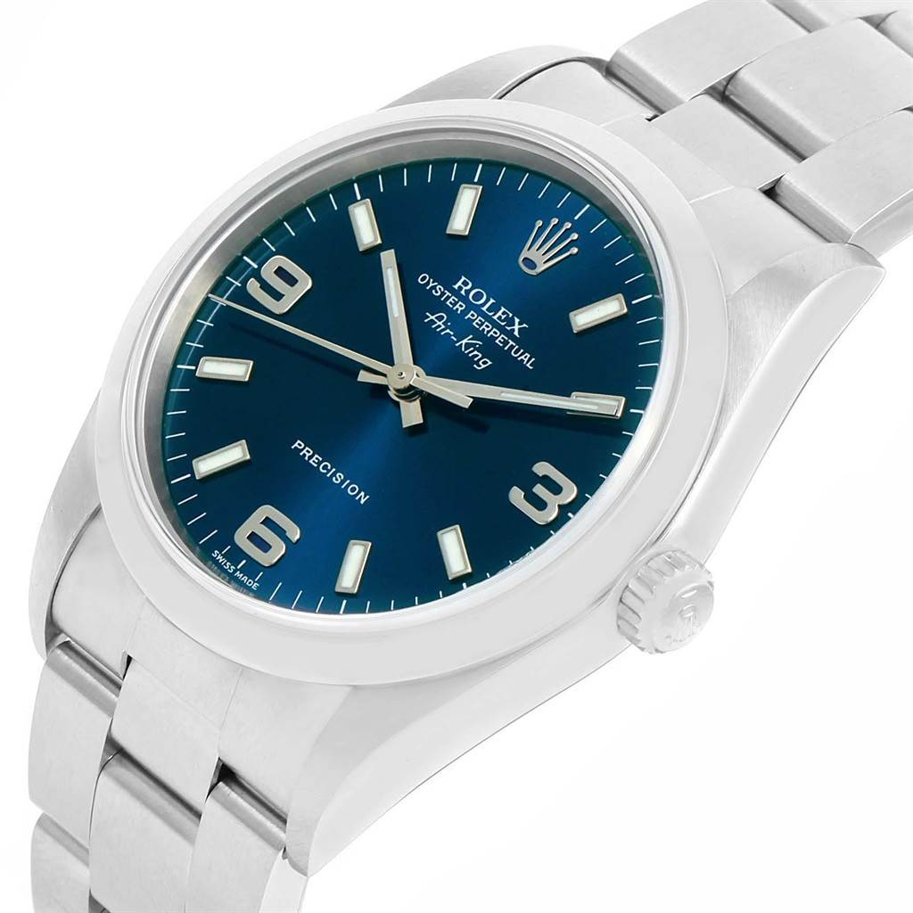20948 Rolex Air King 34 Blue Dial Smooth Bezel Steel Mens Watch 14000 SwissWatchExpo