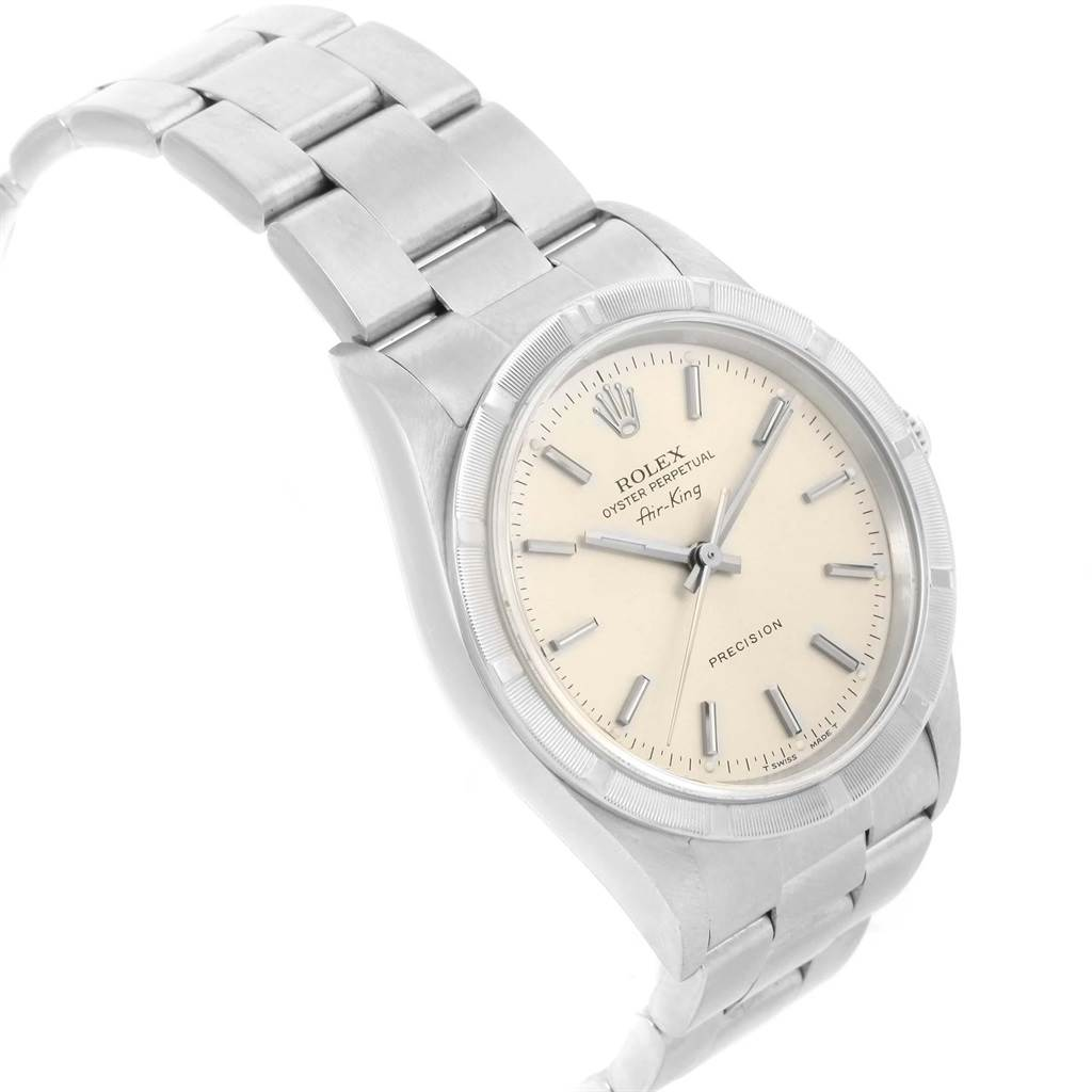 20656 Rolex Air King 34mm Silver Dial Stainless Steel Mens Watch 14010 SwissWatchExpo