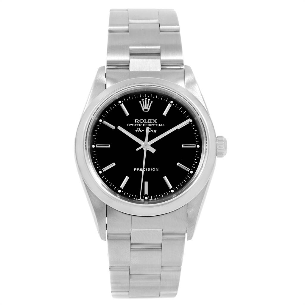 21644 Rolex Air King 34 Black Dial Stainless Steel Mens Watch 14000 Box SwissWatchExpo