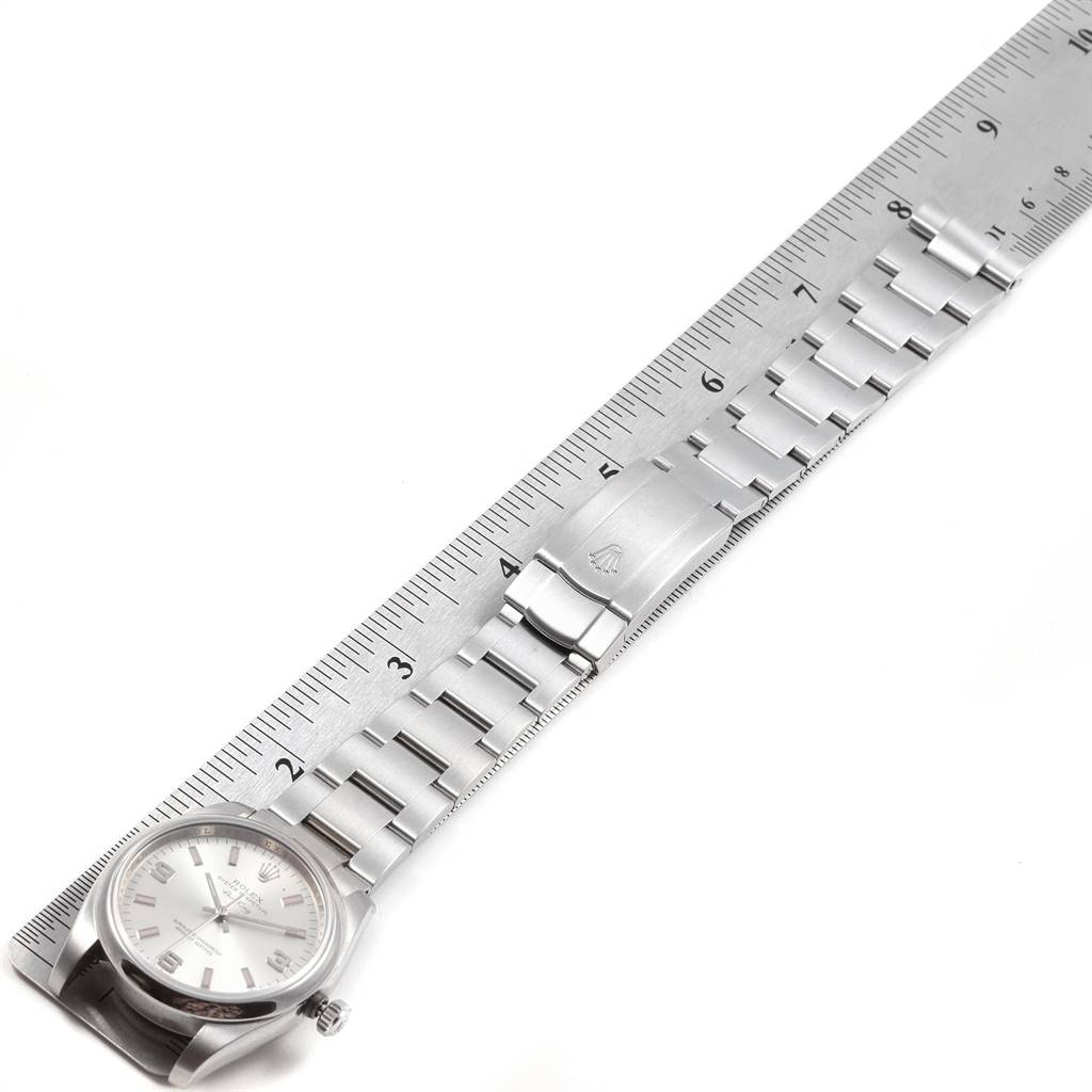 21828 Rolex Air King Silver Dial Pink Baton Markers Unisex Watch 114200 SwissWatchExpo