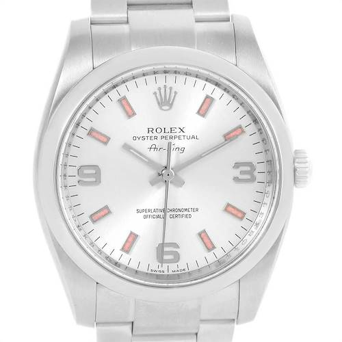Photo of Rolex Air King Silver Dial Pink Baton Markers Unisex Watch 114200