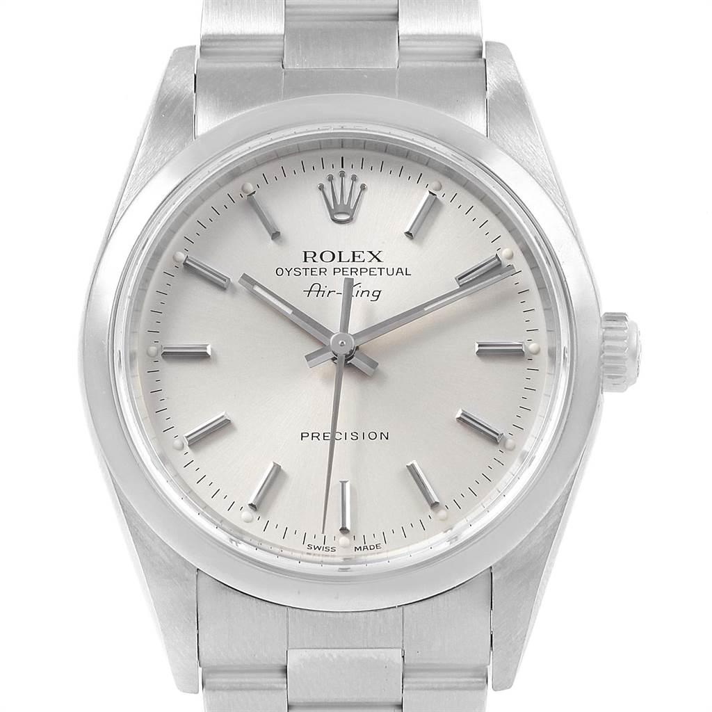 21496 Rolex Air King 34 Silver Dial Oyster Bracelet Steel Mens Watch 14000 SwissWatchExpo