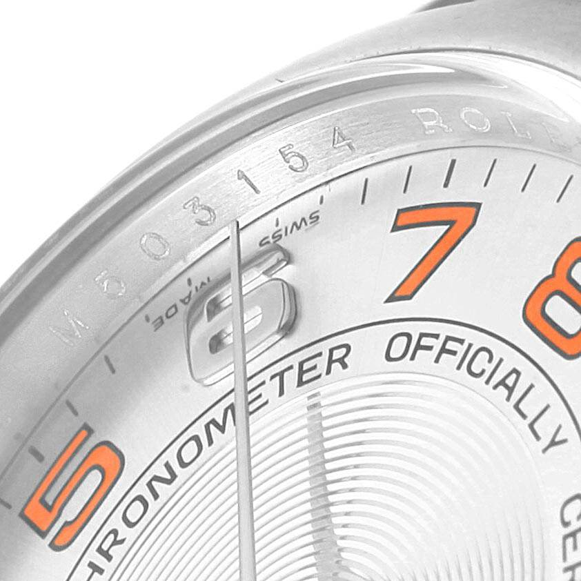 21878 Rolex Air King Concentric Silver Orange Dial Unisex Watch 114200 SwissWatchExpo