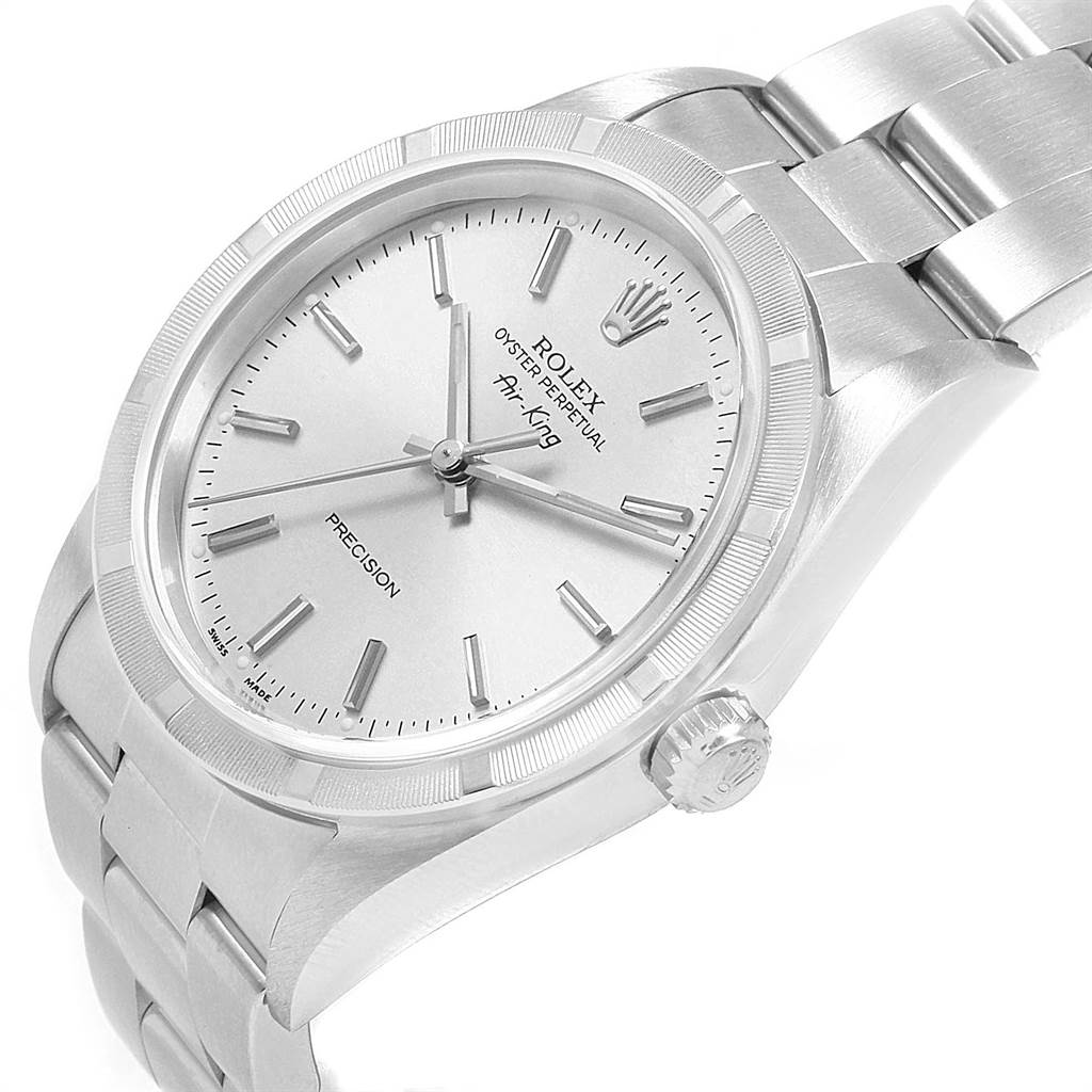 21825 Rolex Air King 34mm Silver Dial Stainless Steel Mens Watch 14010 SwissWatchExpo