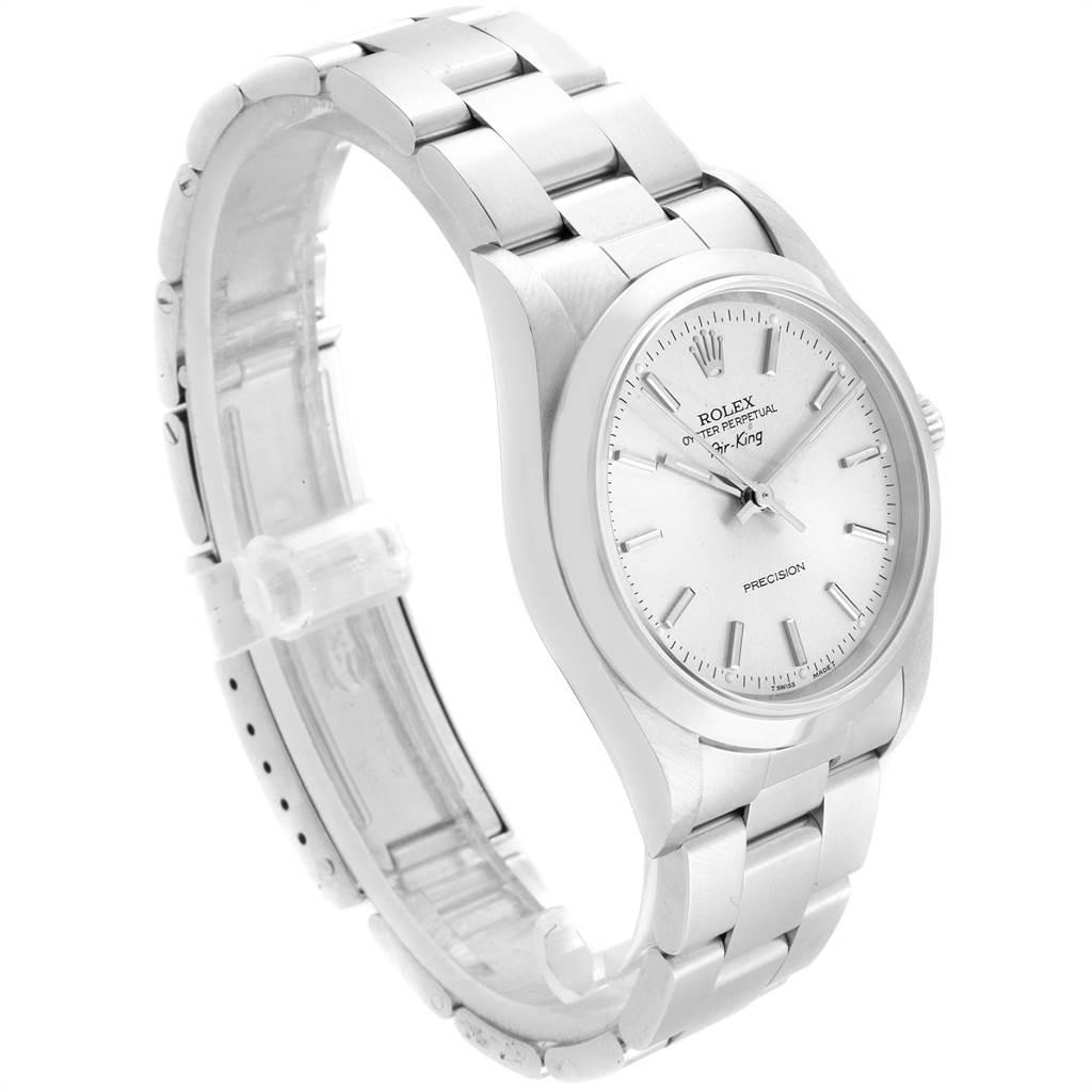 21906 Rolex Air King 34 Silver Dial Oyster Bracelet Steel Mens Watch 14000 SwissWatchExpo
