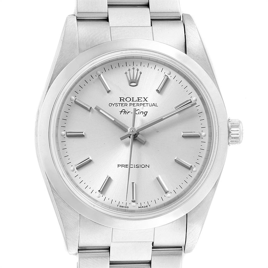 Rolex Air King 34 Silver Dial Oyster Bracelet Steel Mens Watch 14000 SwissWatchExpo