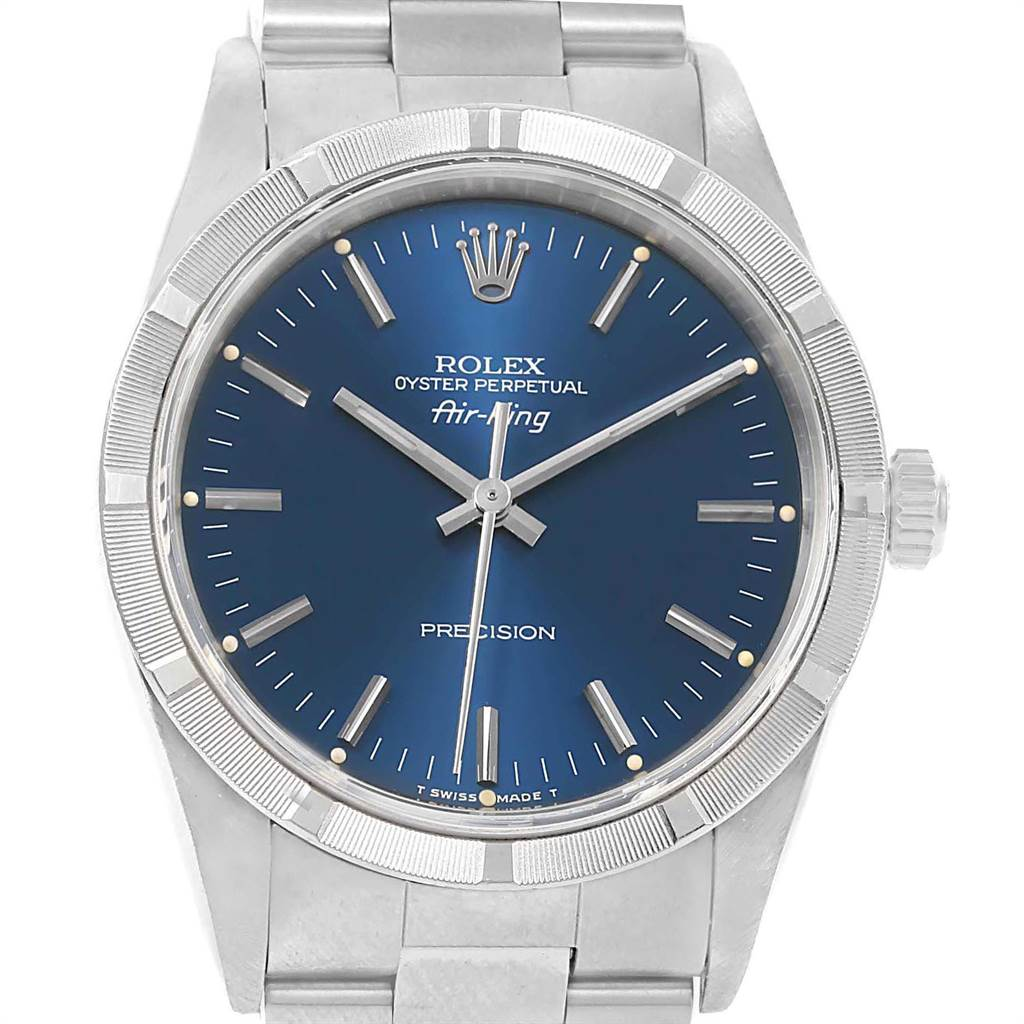 21935 Rolex Air King Blue Baton Dial Stainless Steel Mens Watch 14010 SwissWatchExpo