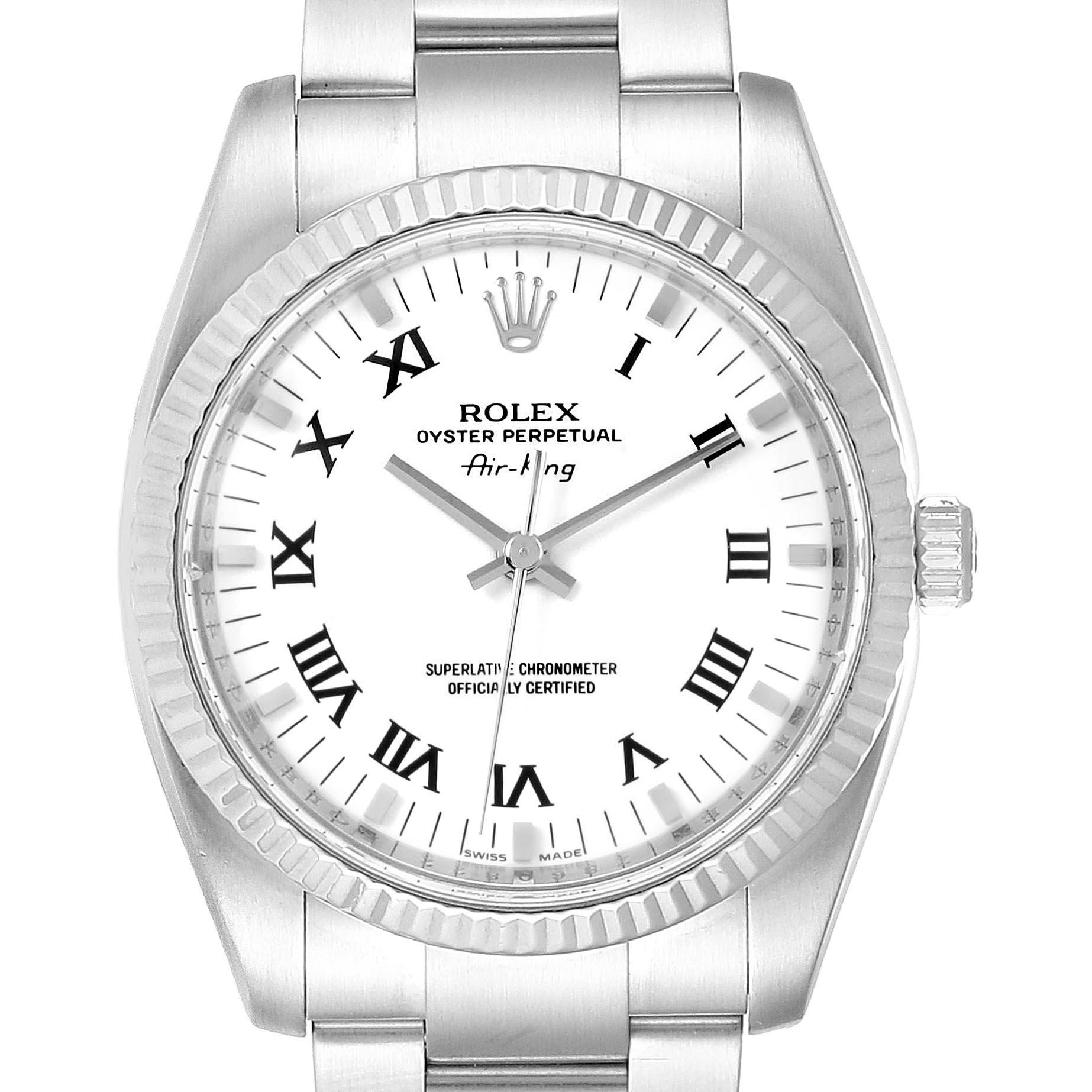 Rolex Air King Steel 18K White Gold White Dial Watch 114234 Box