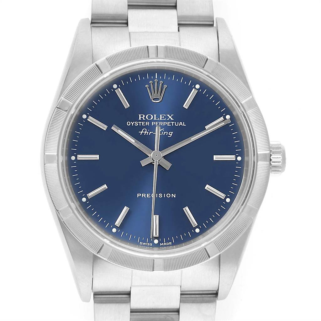 Rolex Air King 34mm Blue Dial Stainless Steel Mens Watch 14010 SwissWatchExpo