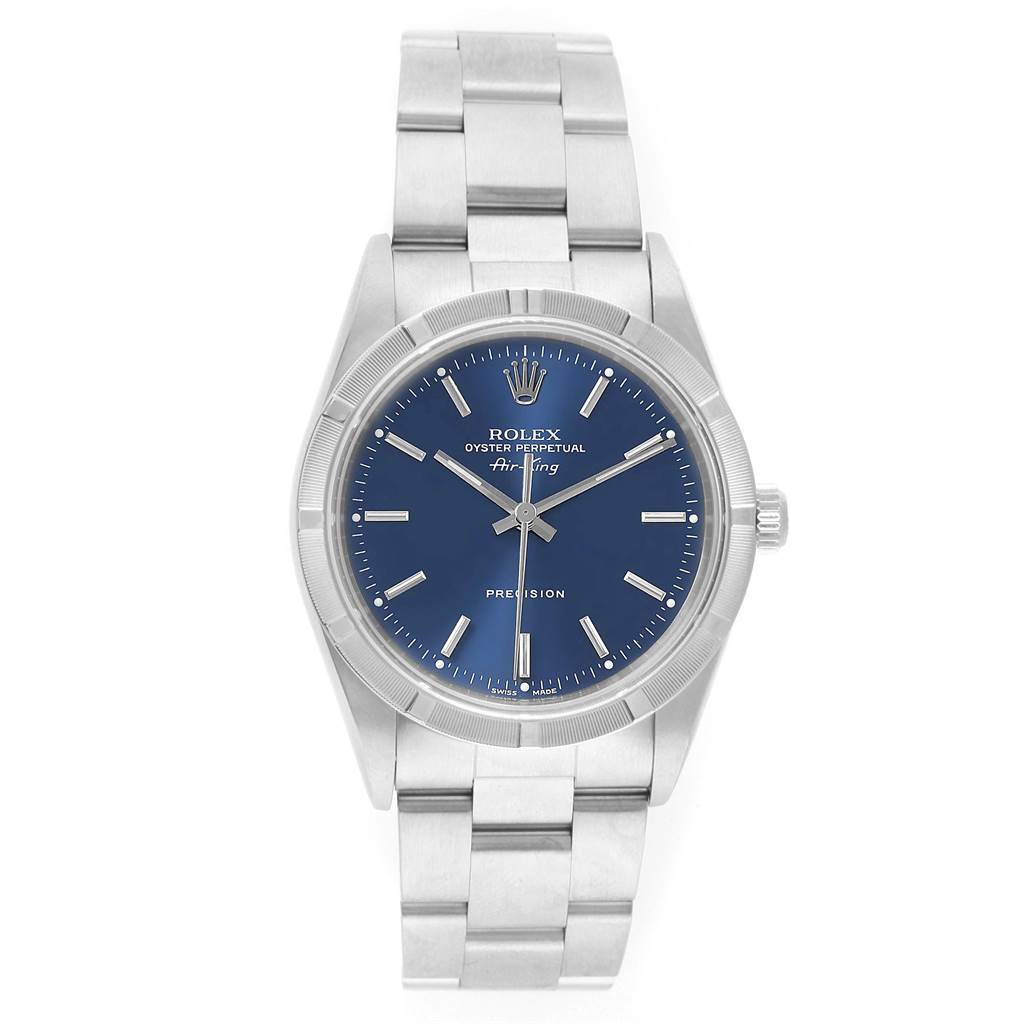 22248 Rolex Air King 34mm Blue Dial Stainless Steel Mens Watch 14010 SwissWatchExpo