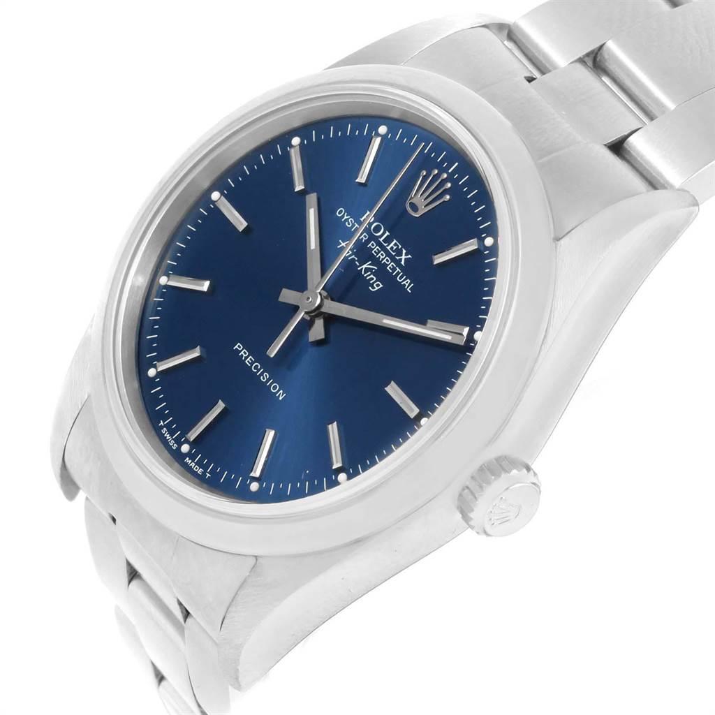 Rolex Air King 34 Blue Dial Oyster Bracelet Steel Mens Watch 14000 SwissWatchExpo