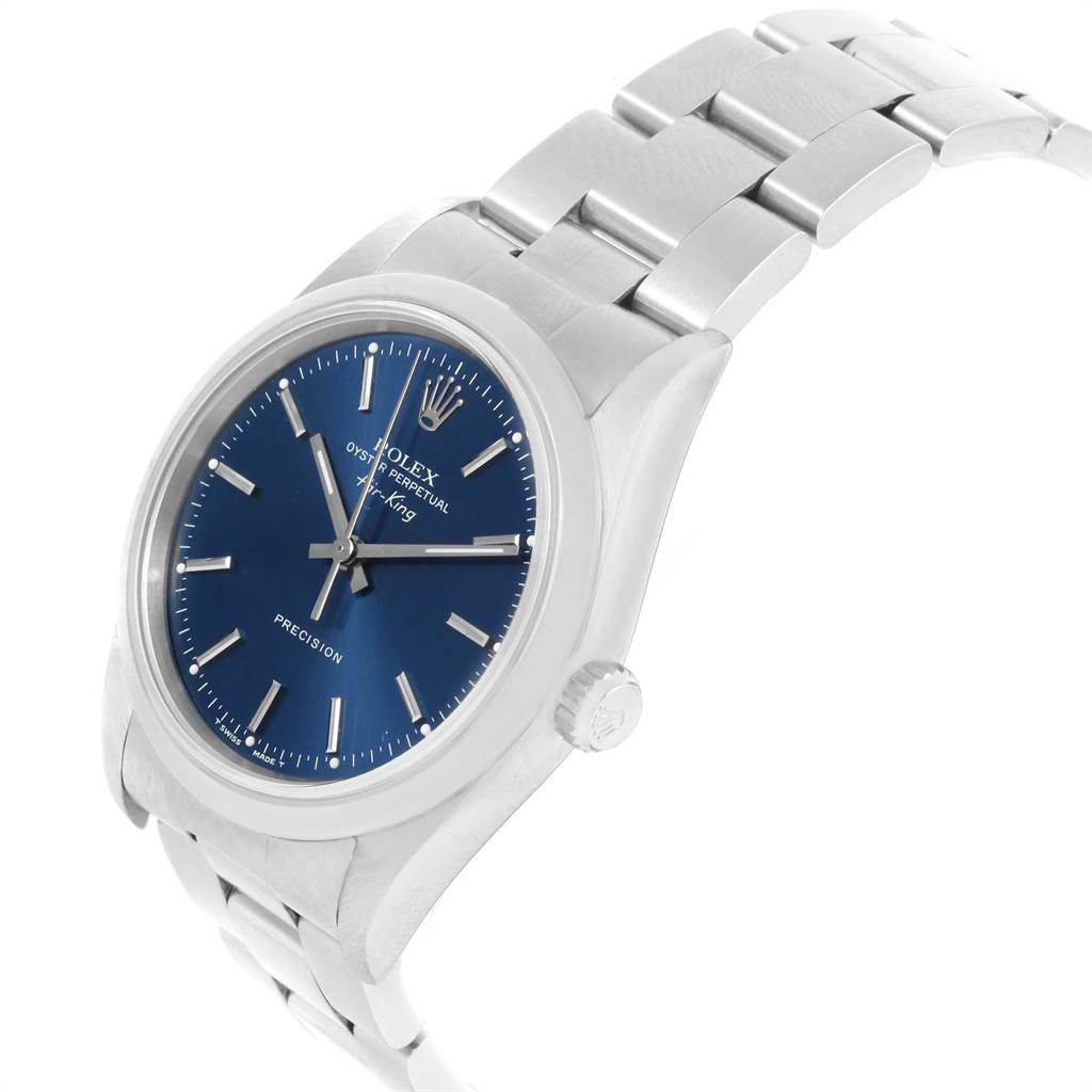 22424 Rolex Air King 34 Blue Dial Oyster Bracelet Steel Mens Watch 14000 SwissWatchExpo