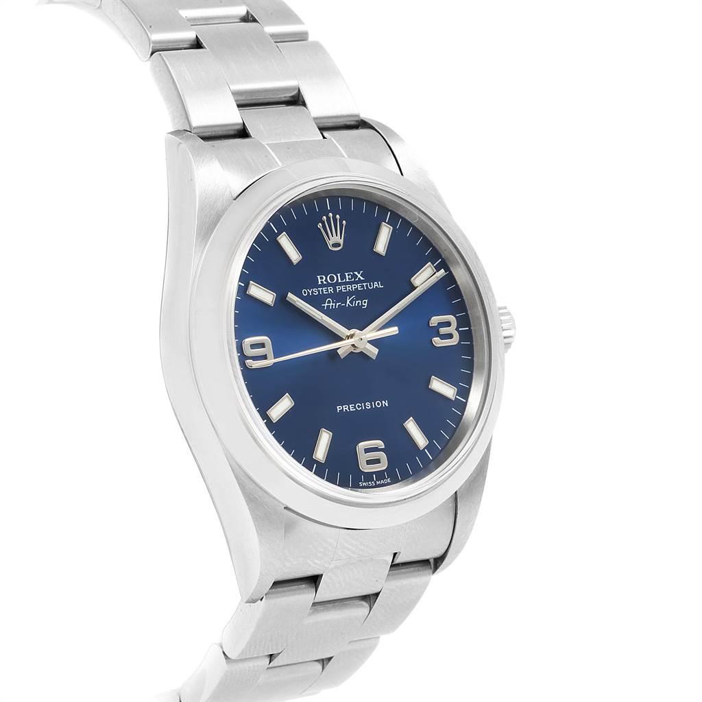 22260 Rolex Air King 34 Smooth Bezel Blue Dial Steel Mens Watch 14000 SwissWatchExpo
