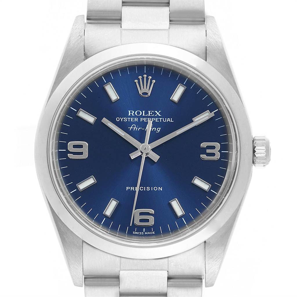 Rolex Air King 34 Smooth Bezel Blue Dial Steel Mens Watch 14000 SwissWatchExpo