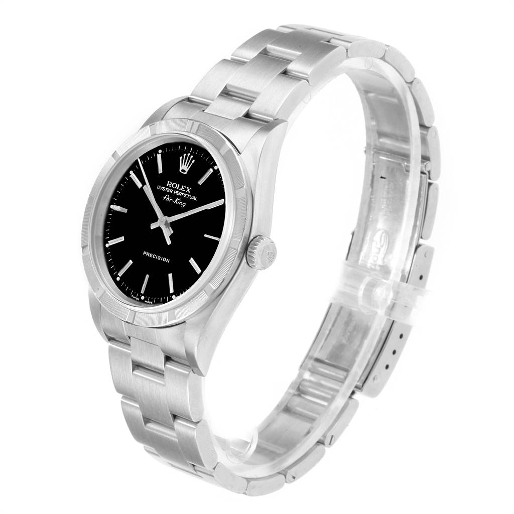 22056 Rolex Air King 34 Black Dial Steeel Mens Watch 14010 Box Papers SwissWatchExpo