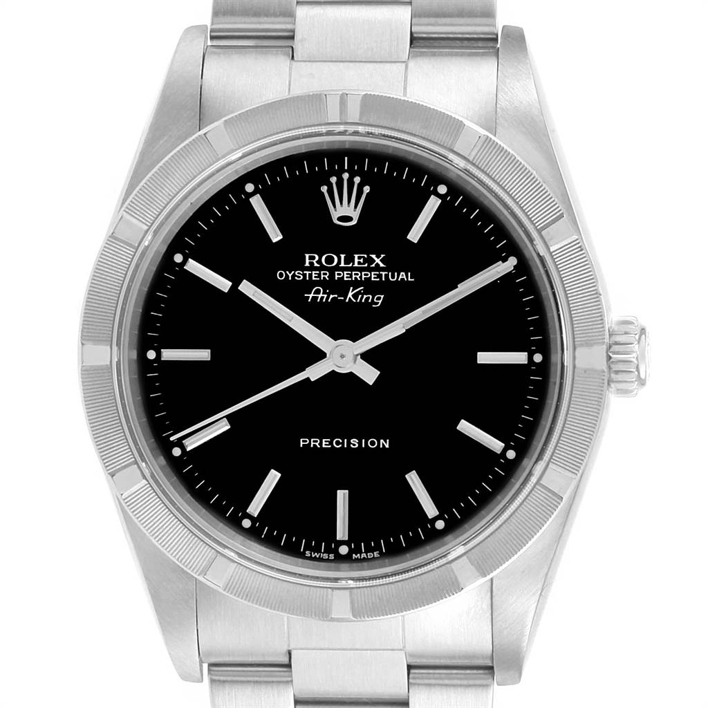 Rolex Air King 34 Black Dial Steeel Mens Watch 14010 Box Papers SwissWatchExpo