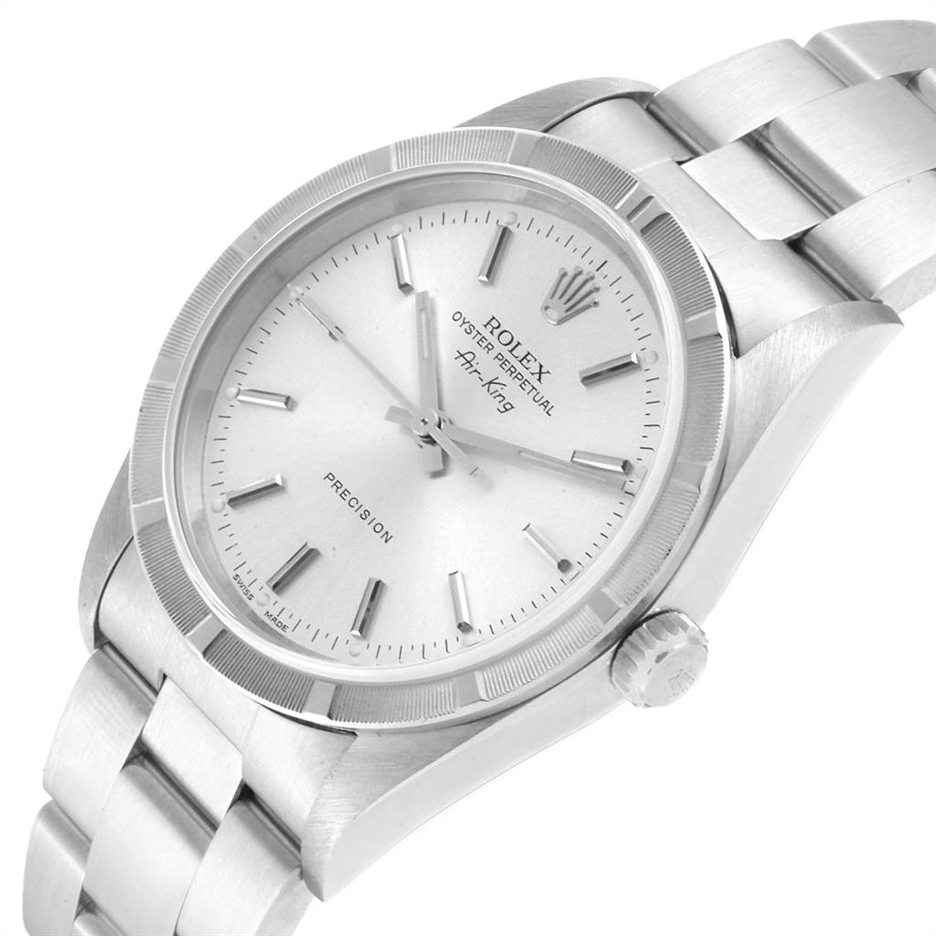 22560 Rolex Air King Silver Dial Oyster Bracelet Steel Mens Watch 14010 SwissWatchExpo