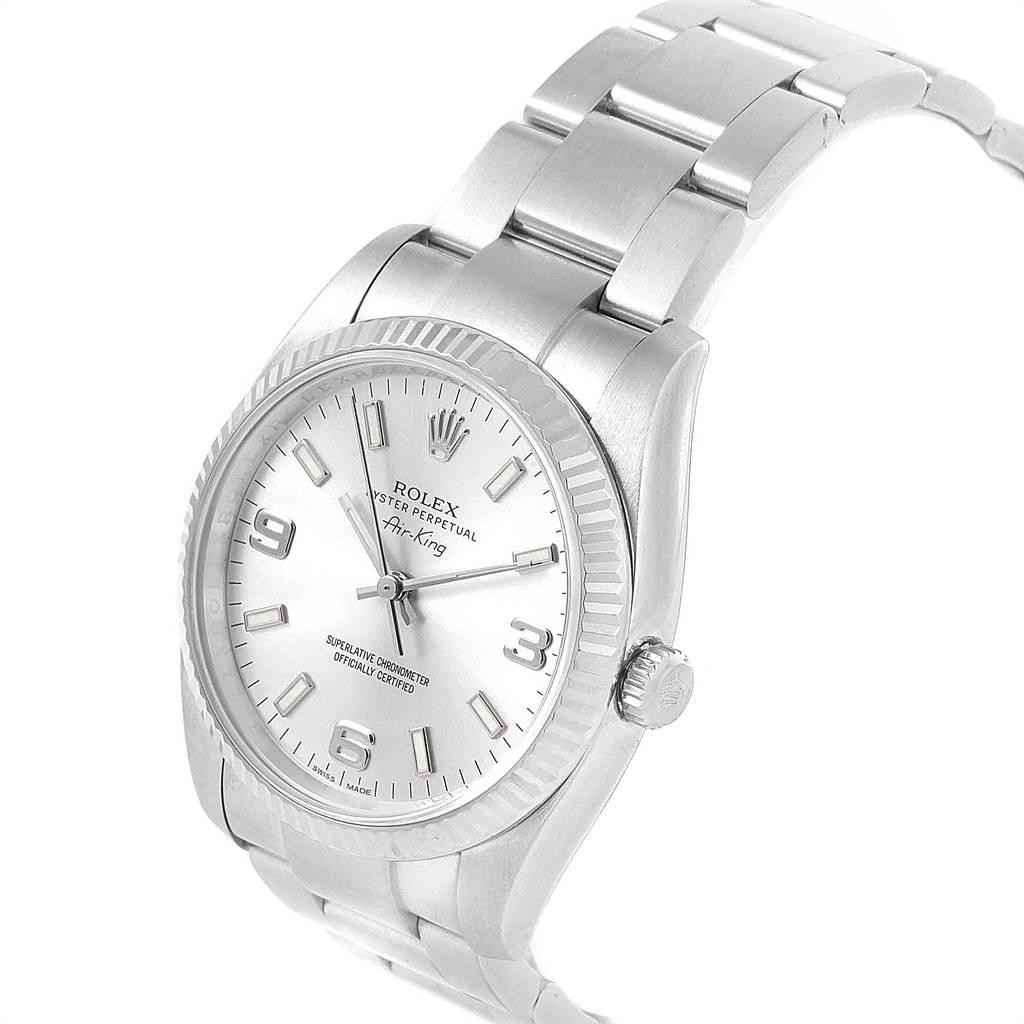 Rolex Air King Steel White Gold Fluted Bezel Mens Watch 114234 SwissWatchExpo