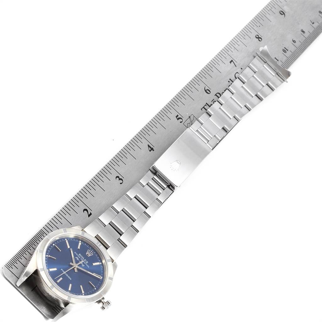 22752 Rolex Air King 34 Blue Dial Oyster Bracelet Steel Mens Watch 14010 SwissWatchExpo