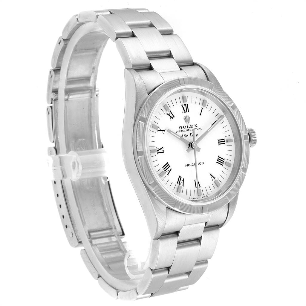 22880 Rolex Air King 34mm White Dial Steel Mens Watch 14010 Box SwissWatchExpo