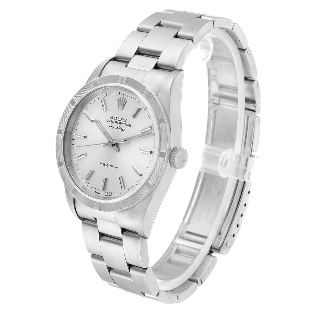 23047 Rolex Air King 34 Silver Dial Steel Mens Watch 14010 Box Papers SwissWatchExpo