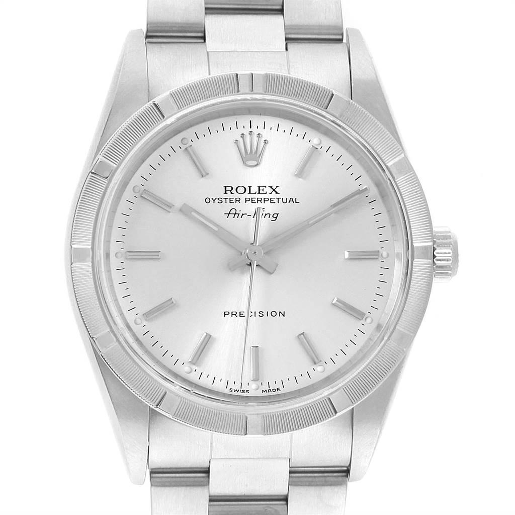 22825 Rolex Air King Silver Baton Dial Oyster Bracelet Steel Mens Watch 14010 SwissWatchExpo