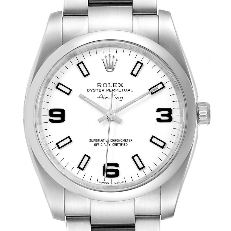 Rolex Air King White Dial Domed Bezel Steel Mens Watch 114200 SwissWatchExpo