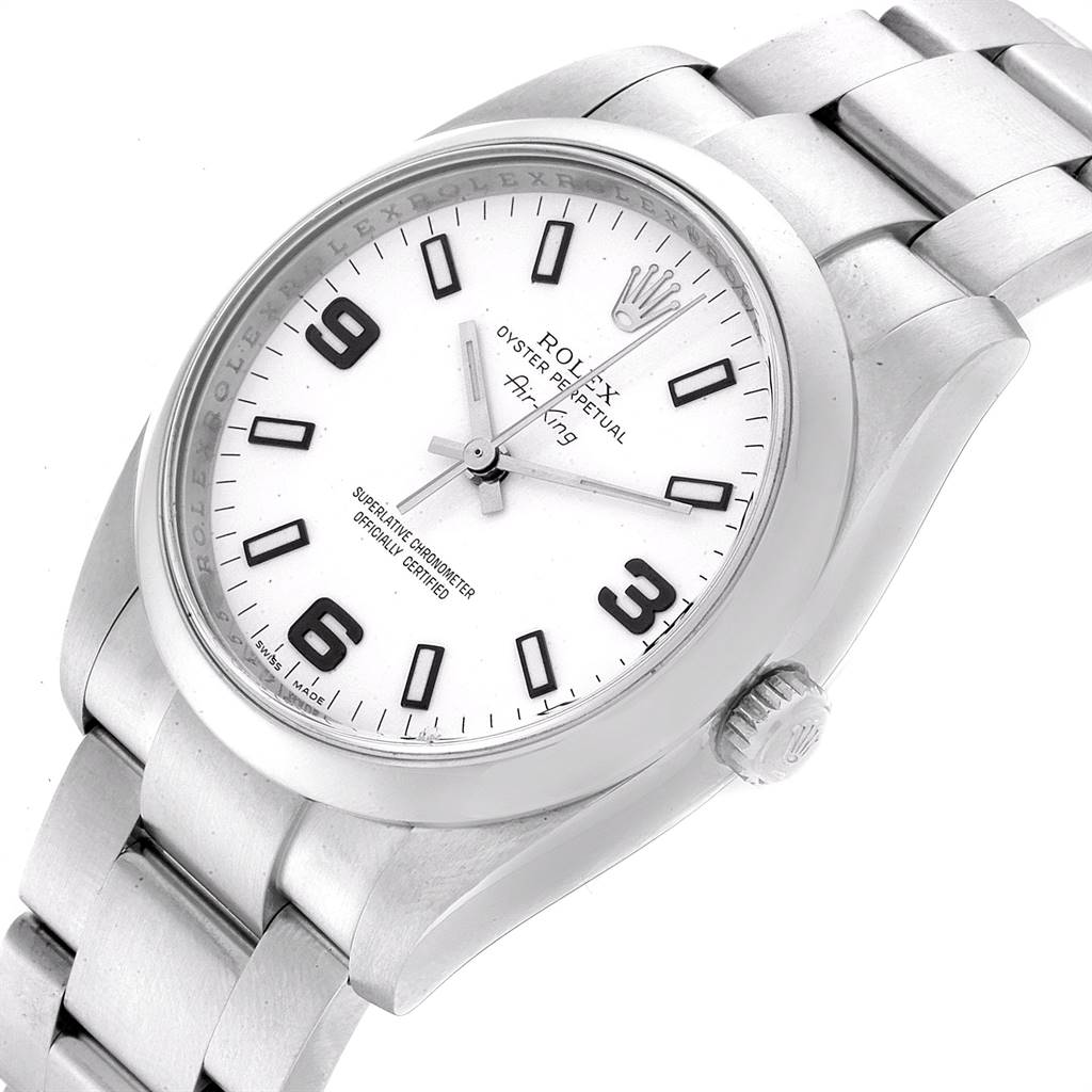 22909 Rolex Air King White Dial Domed Bezel Steel Mens Watch 114200 SwissWatchExpo