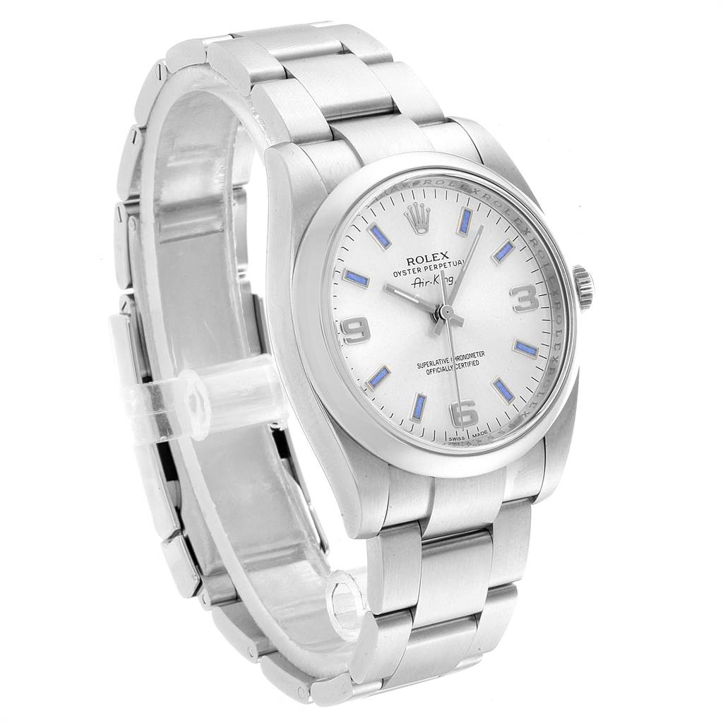 Rolex Air King Silver Dial Blue Index Hour Markers Steel Watch 114200 SwissWatchExpo
