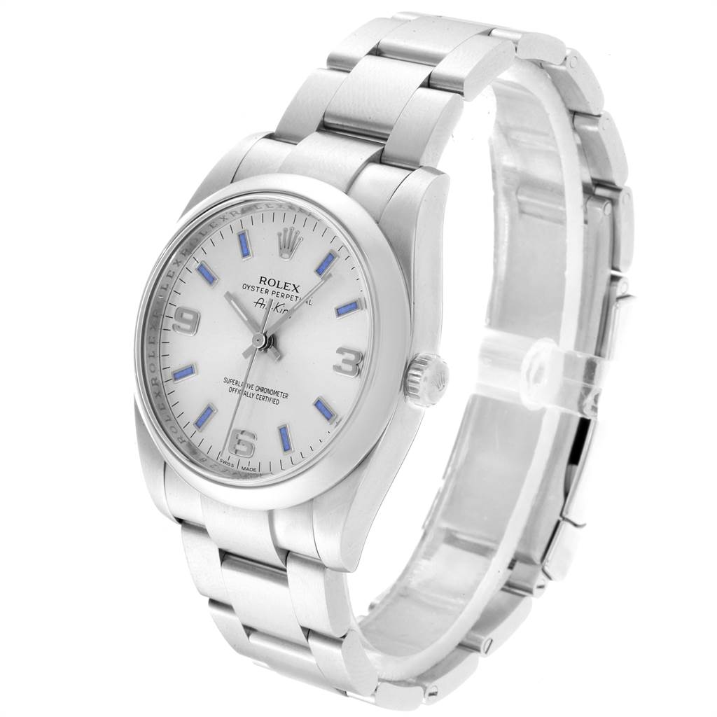 22911 Rolex Air King Silver Dial Blue Index Hour Markers Steel Watch 114200 SwissWatchExpo