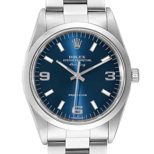 Photo of Rolex Air King 34 Domed Bezel Blue Dial Steel Mens Watch 14000