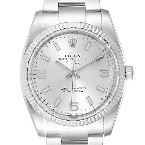Photo of Rolex Air King Steel White Gold Fluted Bezel Mens Watch 114234