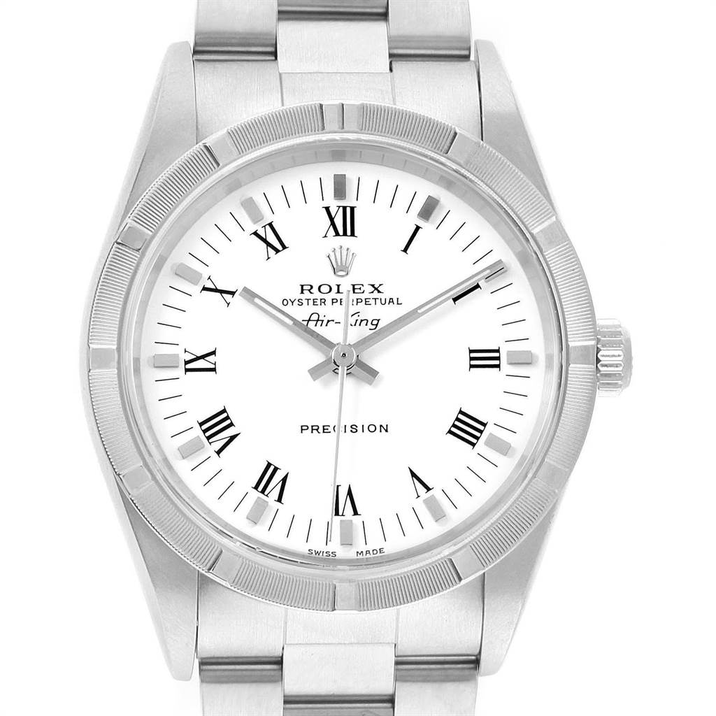 Rolex Air King 34mm White Dial Steel Mens Watch 14010 Box