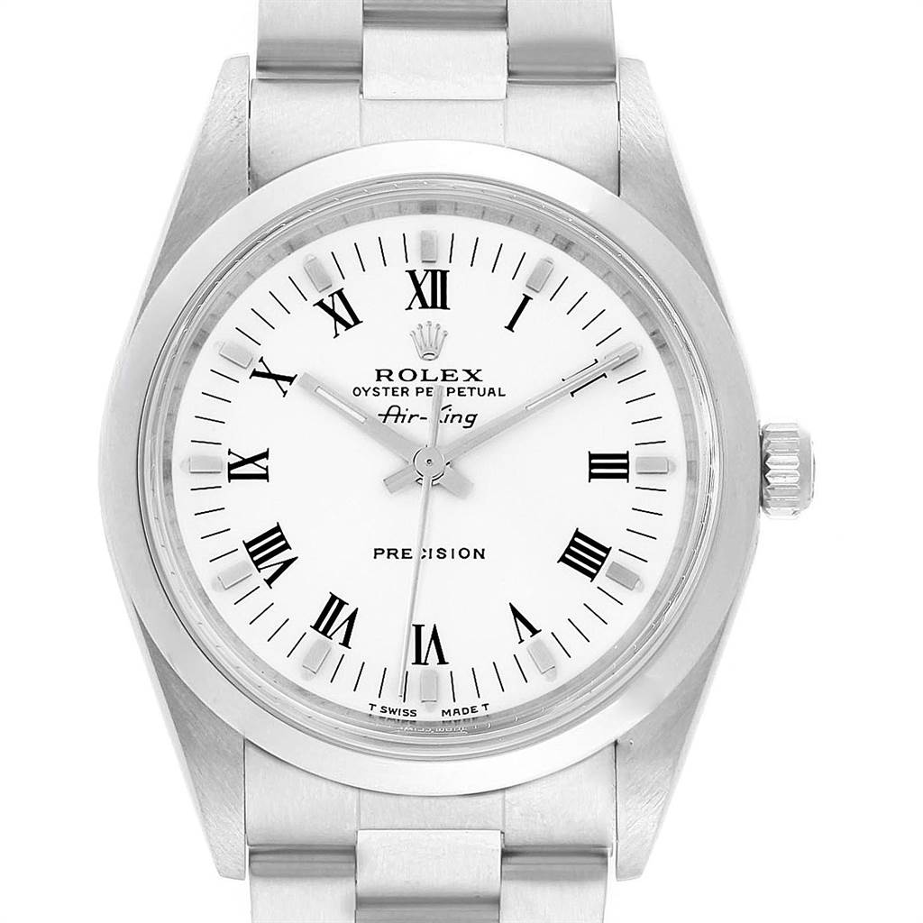 22744 Rolex Air King 34mm White Dial Domed Bezel Mens Watch 14000 SwissWatchExpo