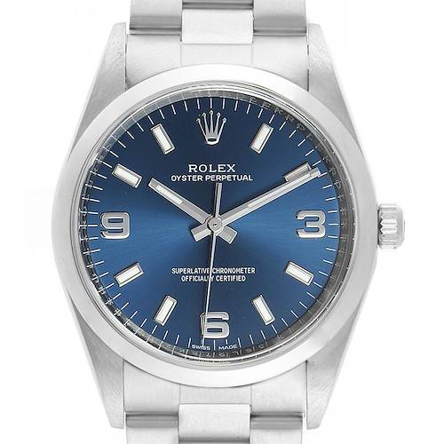 Photo of Rolex Air King 34 Blue Dial Smooth Bezel Unisex Watch 114200