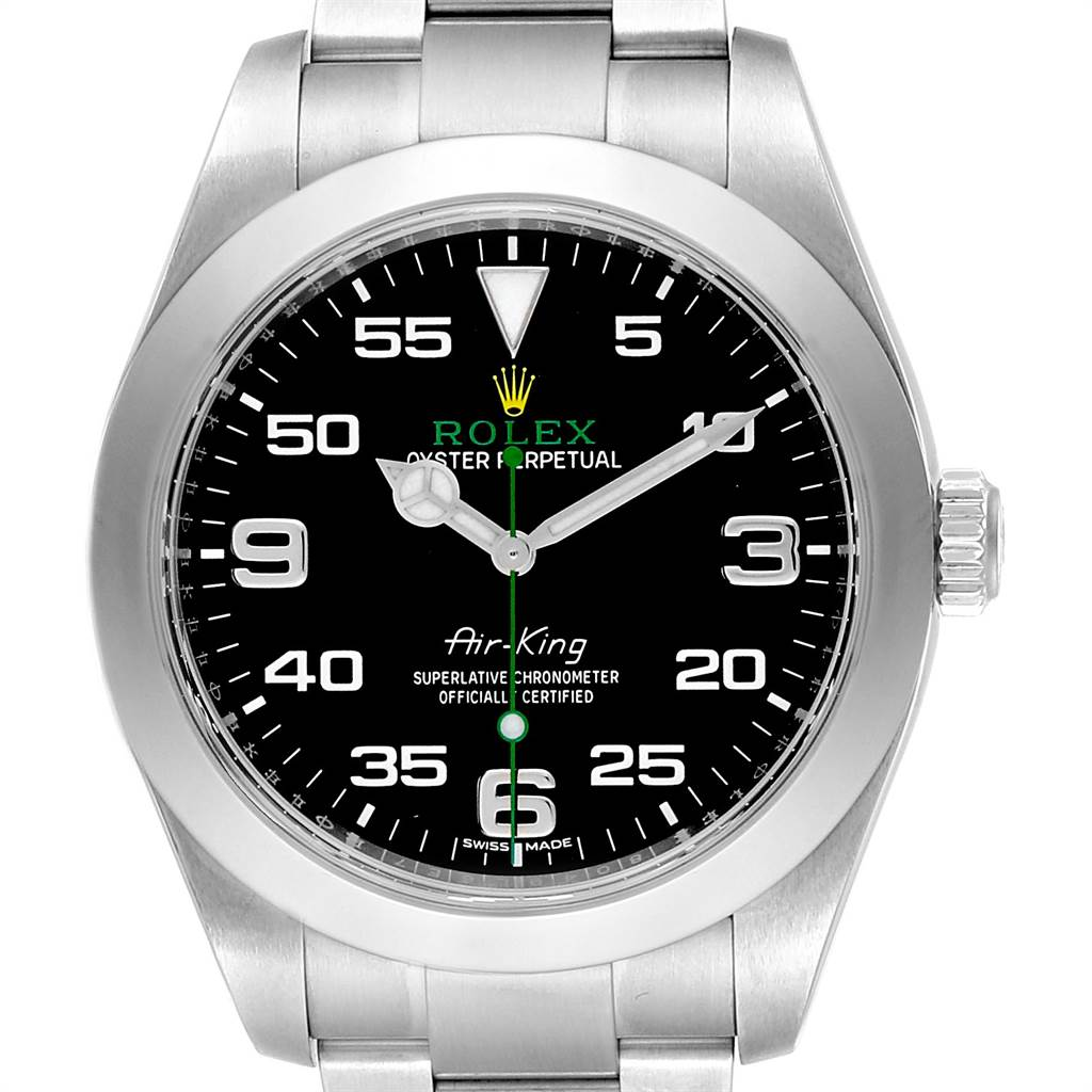 new product a5fe8 fe456 Rolex Oyster Perpetual Air King Black Dial Steel Watch 116900 Box Card
