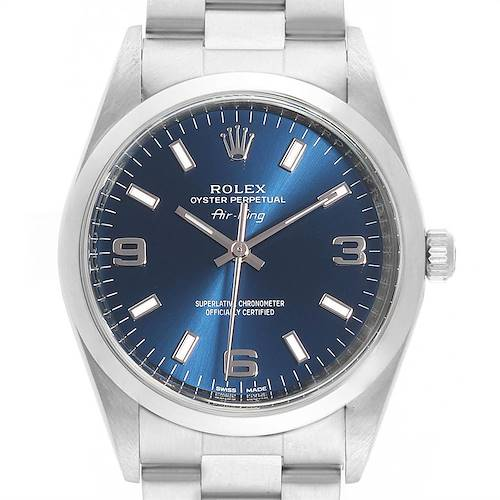 Photo of Rolex Air King 34 Blue Dial Domed Bezel Unisex Watch 114200