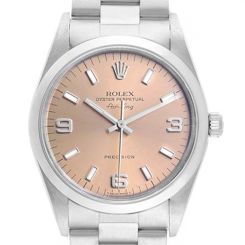 Photo of Rolex Air King 34 Salmon Dial Smooth Bezel Steel Unisex Watch 14000